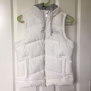 Guess puffer vest with hoodie